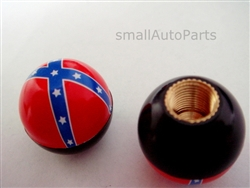 Rebel Flag Ball Tire Valve Stem Caps