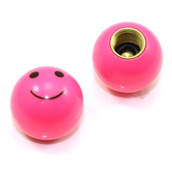 2 Pink Smiley Face Ball Tire Wheel Air Stem Valve Caps For